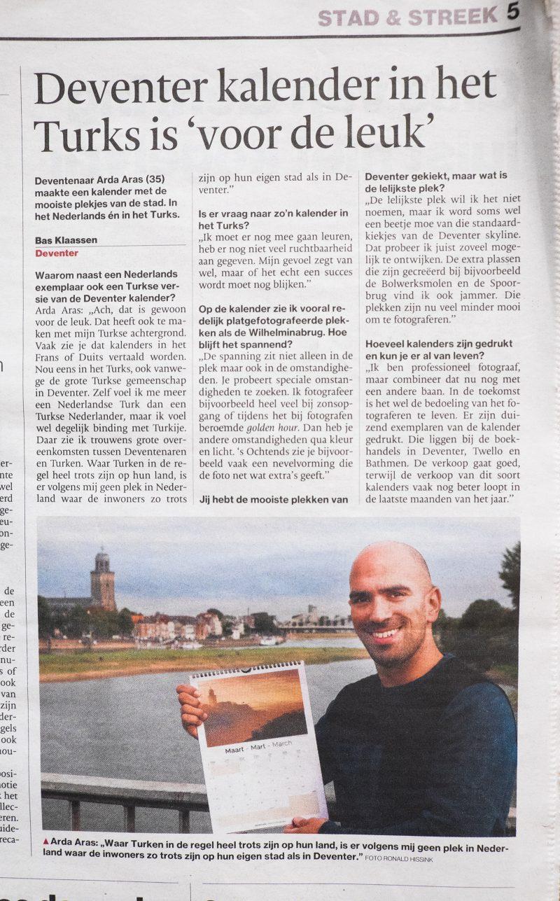 Deventer kalender - krant - De Stentor - Interview - Arda Aras fotografie - Arda Aras Deventer - Deventer fotograaf
